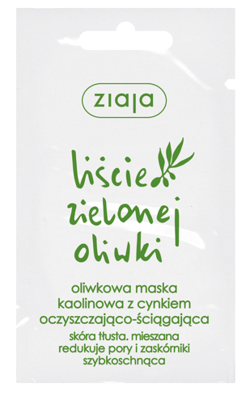 Ziaja - Green Olives Leaves - Olive kaolin MASK with zinc-cleansing astringent for combination and oily skin 7ml 5901887931232